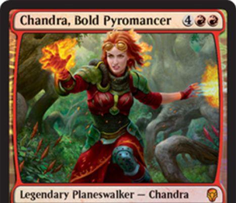 【ドミナリア】勇敢な紅蓮術師、チャンドラ(Chandra, Bold Pyromancer)が公開!PWデッキ限定収録の新チャンドラ!