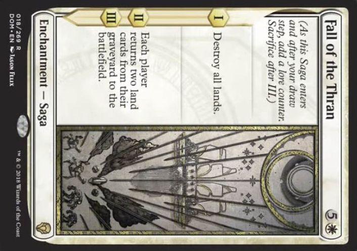 【ドミナリア】白レアの英雄譚「スランの崩落(Fall of the Thran)」がカード画像公開!効果1で土地を全破壊し、効果2と効果3では墓地から土地2枚を戦場に戻す!