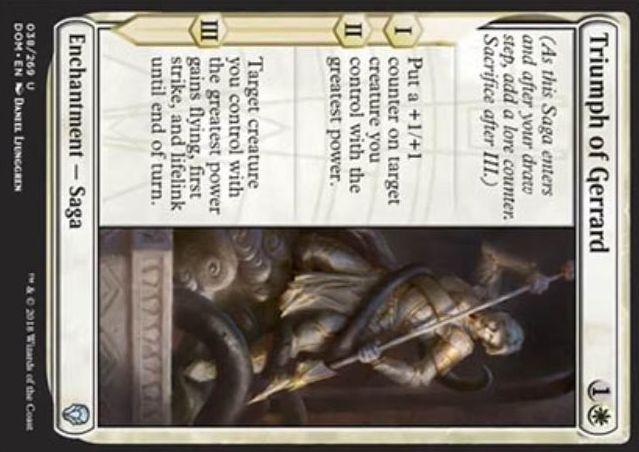 【ドミナリア】白アンコの英雄譚「ジェラードの勝利(Triumph of Gerrard)」がカード画像公開!自軍の最大パワーのクリーチャーに対し、効果1&効果2で+1/+1カウンターを1個乗せ、効果3で飛行と先制攻撃と絆魂を付与する!