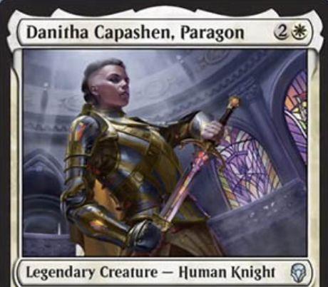 【ドミナリア】白アンコの伝説騎士「Danitha Capashen, Paragon」が公開!白2で2/2「先制攻撃」&「警戒」&「絆魂」を持ち、あなたが唱える「オーラ」と「装備品」のマナコストを1点軽減する能力も持つ!