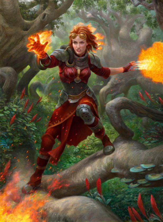 勇敢な紅蓮術師、チャンドラ(Chandra, Bold Pyromancer)のフルアート・イラスト