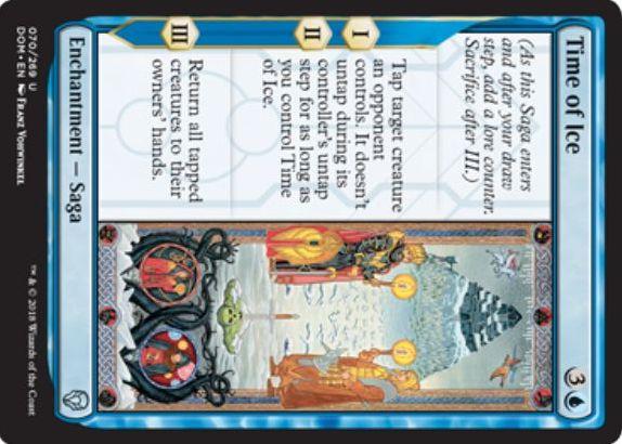 【ドミナリア】青アンコの英雄譚「氷河期(Time of Ice)」が公開!青3で設置し、効果1と効果2で相手のクリーチャーをタップ&自動アンタップ不可に!効果3ではタップ状態の全クリーチャーをバウンス!
