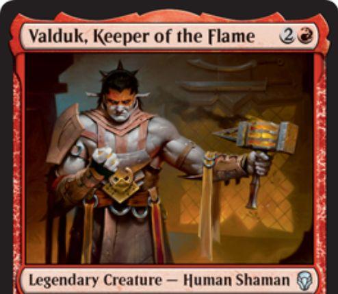【ドミナリア】炎の番人、ヴァルダーク(Valduk, Keeper of the Flame)が公開!3マナ3/2&戦闘開始時にこのカードについた装備品やオーラ1枚につき、3/1「速攻」「トランプル」のトークンを生成!