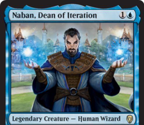 【ドミナリア】反復の学部長、ナバン(Naban, Dean of Iteration)が公開!2マナ2/1&ウィザードが戦場に出ることで誘発する能力を追加で1回誘発させる伝説の人間ウィザード!