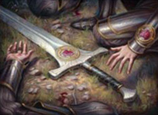 【ドミナリア】先祖の刃(Forebear's Blade)が公開!3マナで設置し、3マナで装備する装備品!パワーを3増強しつつ「警戒」と「トランプル」を装備クリーチャーに付与!また、装備クリーチャーが死亡しても、他の自軍クリーチャーにノーコスト付け替えが可能!
