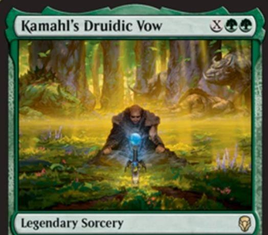 【ドミナリア】カマールのドルイド的誓約(Kamahl's Druidic Vow)が公開!緑緑XでライブラリートップX枚からマナコストX以下の土地や伝説のパーマネントを好きなだけ戦場に出せる伝説のソーサリー!