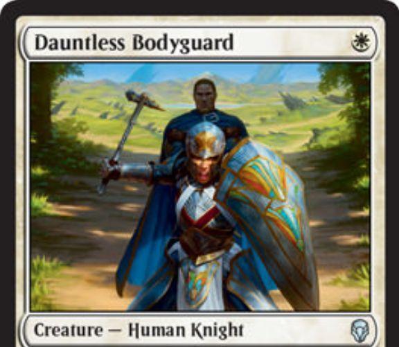 【ドミナリア】白の人間騎士「Dauntless Bodyguard」が公開!1マナ2/1&CIPでクリーチャー1体を指定し、自身を生贄に捧げることでそのクリーチャーに「破壊不能」を付与する!