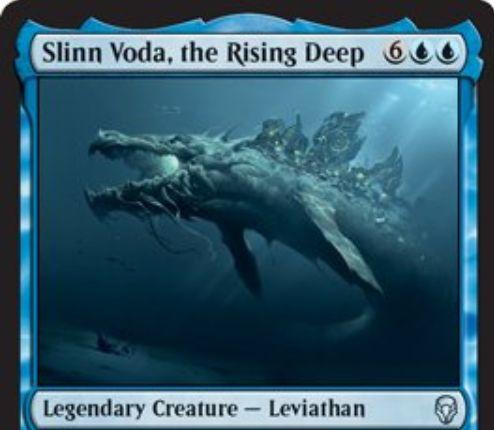 【ドミナリア】青アンコの伝説リバイアサン「Slinn Voda, the Rising Deep」が公開!青青6で8/8&青1を支払って「キッカー」すると、CIPで海の生物以外を全バウンス!