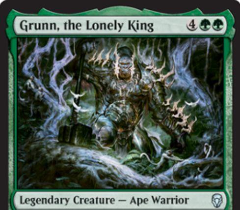 【ドミナリア】孤独な王、グラン(Grunn, the Lonely King)が公開!緑緑4で5/5&キッカーで追加3マナ払うと+1/+1カウンターを5個獲得&単独アタックすることでP/Tが2倍になる伝説の類人猿・戦士!