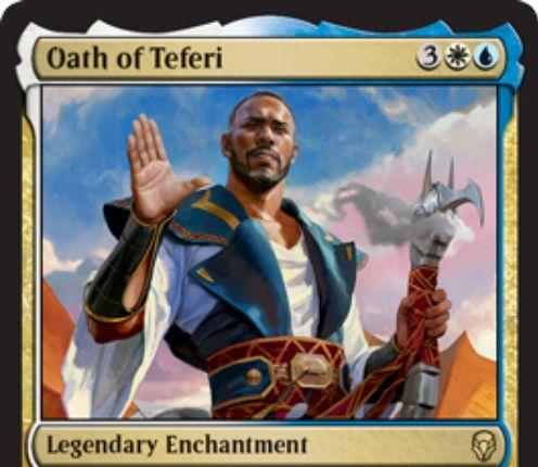 【ドミナリア】テフェリーの誓い(Oath of Teferi)が公開!白青3で設置する伝説のエンチャントで、CIPで自軍のパーマネント1つを明滅&PWの忠誠度能力をターンに2回起動できるようになる!