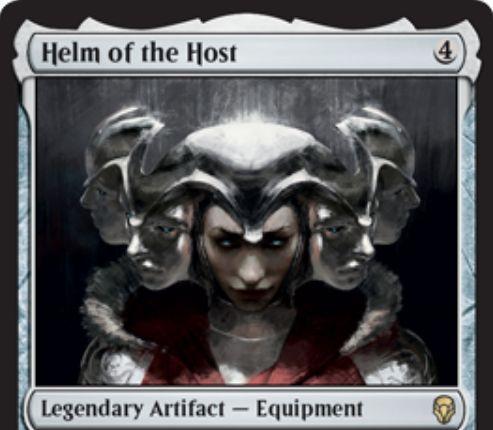 【ドミナリア】多勢の兜(Helm of the Host)が公開!4マナで設置する伝説の「装備品」アーティファクト!5マナで装備し、自ターンの戦闘開始時に装備クリーチャーの「速攻」持ちコピー・トークンを生成する!トークンは伝説性をコピーしない!
