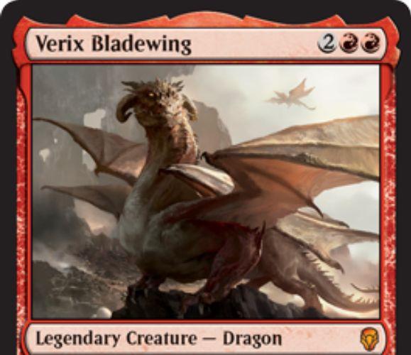 【ドミナリア】刃の翼ヴェリックス(Verix Bladewing)が公開!赤赤2で4/4「飛行」&キッカーコスト(不特定3マナ)を支払うことでCIPで同じ能力の別名カード「刃の翼カロックス」を生成!