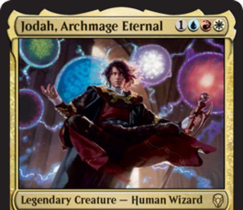 【ドミナリア】永遠の大魔道師、ジョダー(Jodah, Archmage Eternal)が公開!青赤白1で4/3「飛行」&すべての呪文を白青黒赤緑の代替コストで唱えられるようにする伝説のジェスカイ人間ウィザード!