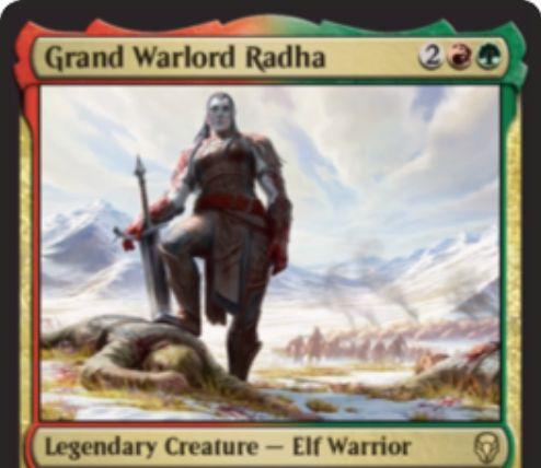 【ドミナリア】総将軍ラーダ(Grand Warlord Radha)が公開!赤緑2で3/4「速攻」&攻撃したクリーチャーの数だけ、好きな組み合わせの赤と緑のマナを生産する伝説のエルフ戦士!