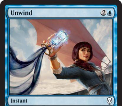 【ドミナリア】青コモンのインスタント「Unwind」が公開!青2で非クリーチャー呪文を打ち消し、3つの土地をアンタップするフリースペル・カウンター!