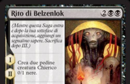 【ドミナリア】黒レアの英雄譚「Rite of Belzenlok」が公開!黒黒2で設置し、効果1&効果2で0/1のミニオンを生成する!効果3では6/6「飛行」「トランプル」のデーモンを生成!デーモンは毎ターンの生物生贄を要求!さもなくば・・・