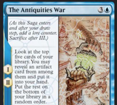 【ドミナリア】アンティキティー戦争(The Antiquities War)が公開!青3の「英雄譚」で、効果1&効果2でライブラリートップ5枚からアーティファクト1枚を手札に加える!効果3では自軍のアーティファクトすべてを5/5のクリーチャーに変える!