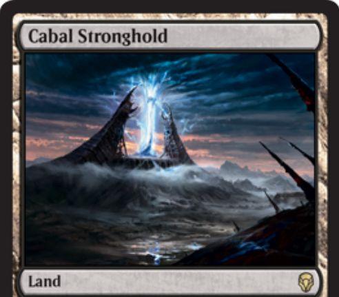 【ドミナリア】レア土地「Cabal Stronghold」が公開!タップで無色マナ&3マナ・タップで自軍の沼(基本土地)の数だけ黒マナを生産する土地カード!