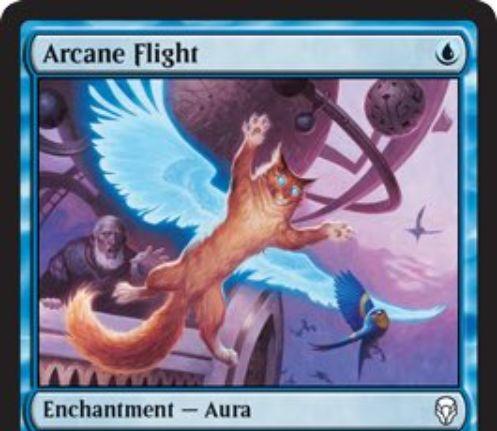 【ドミナリア】青コモンのオーラ「Arcane Flight」が公開!青マナ1点で+1/+1修正と「飛行」を付与!イラストの猫もいい感じ!