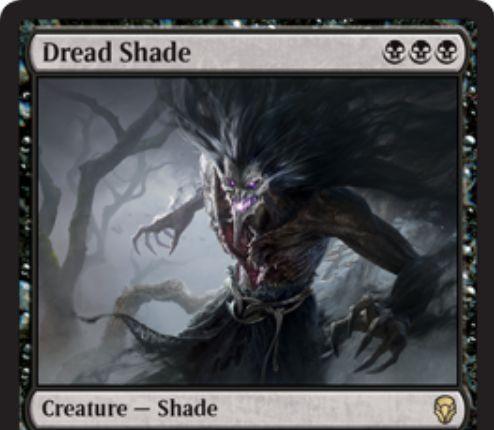 【ドミナリア】黒レアのシェイド「Dread Shade」が公開!黒黒黒で3/3&黒マナ1点でターン終了時まで+1/+1の修正を得る!