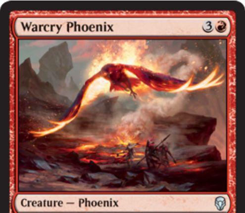【ドミナリア】喊声のフェニックス(Warcry Phoenix)が公開!赤3で2/2「飛行」「速攻」&3体以上のクリーチャーで攻撃した際に赤2を支払うことで墓地から攻撃状態で戦場に戻る赤アンコモンのフェニックス!