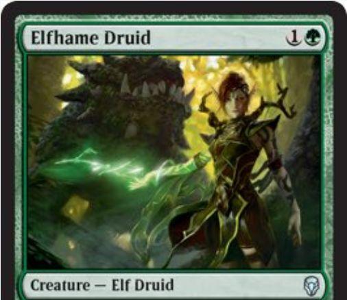 【ドミナリア】緑アンコのエルフ・ドルイド「Elfhame Druid」が公開!緑1で0/2&タップで緑マナ1点を生産&タップで緑マナ2点(キッカー呪文限定)を生産!