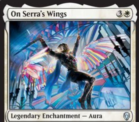 【ドミナリア】セラからの翼(On Serra's Wings)が公開!白3の伝説オーラで、クリーチャー+1/+1の修正と「飛行」「警戒」「絆魂」「伝説性」を付与!