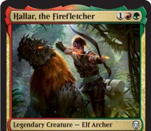 【ドミナリア】炎矢師、ハラー(Hallar, the Firefletcher)が公開!赤緑1で3/3「トランプル」&キッカー呪文を唱えるたびに+1/+1カウンターを獲得しつつ、対戦相手にこのカードの上の+1/+1カウンターの数だけダメージを飛ばす伝説のエルフ射手!