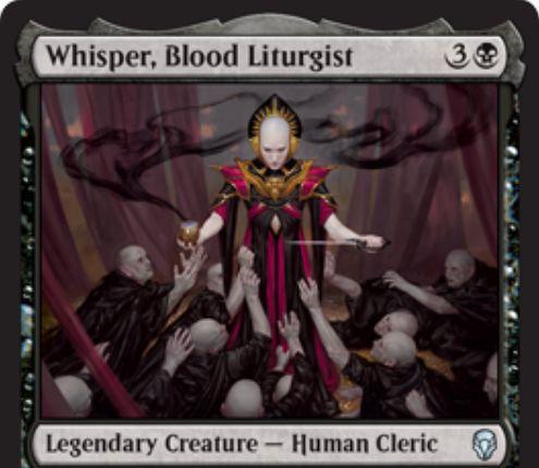 【ドミナリア】血の儀式司、ウィスパー(Whisper, Blood Liturgist)が公開!黒3で2/2の伝説クレリック!タップ&生物2体の生贄をコストに墓地の生物をリアニメイトする能力も!