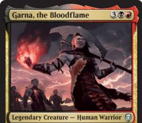 【ドミナリア】血の炎、ガルナ(Garna, the Bloodflame)が公開!黒赤3で3/3「瞬速」&CIPでターン中に自墓地に置かれたクリーチャーすべてを手札に戻す!さらに自軍の他クリーチャーに「速攻」を付与する能力も持つ伝説の人間・戦士!