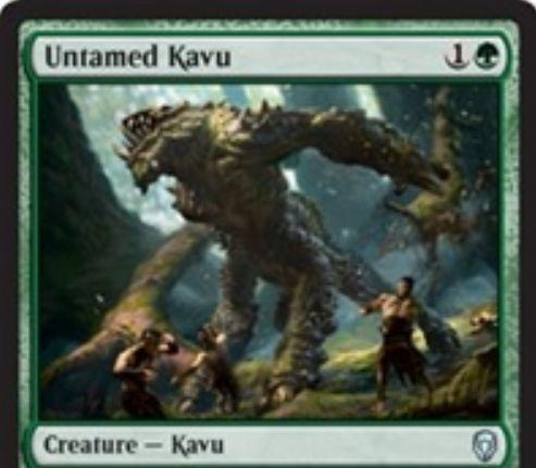 【ドミナリア】緑アンコのカヴー「Untamed Kavu」が公開!緑1で2/2「警戒」「トランプル」&3マナのキッカーで+1/+1カウンターを3個獲得する「カヴーのタイタン」の完全上位互換!