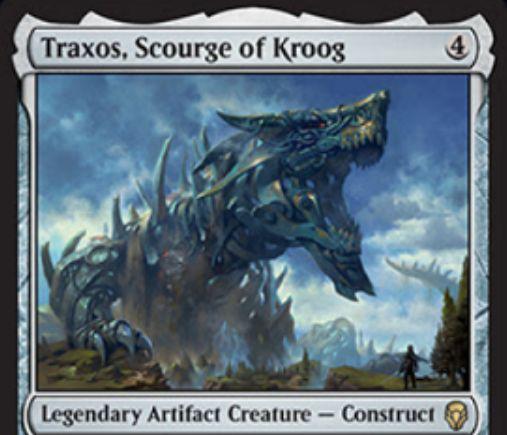 【ドミナリア】伝説のレア構築物「Traxos, Scourge of Kroog」が公開!4マナ7/7「トランプル」&タップイン&アンタップステップにアンタップしない&歴史的な呪文に反応してアンタップ!