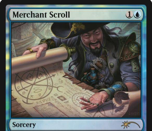 ジャッジ褒章プロモ版「商人の巻物/Merchant Scroll」の新規イラスト版カードが公開!青1でライブラリーから「青のインスタント」をサーチ!