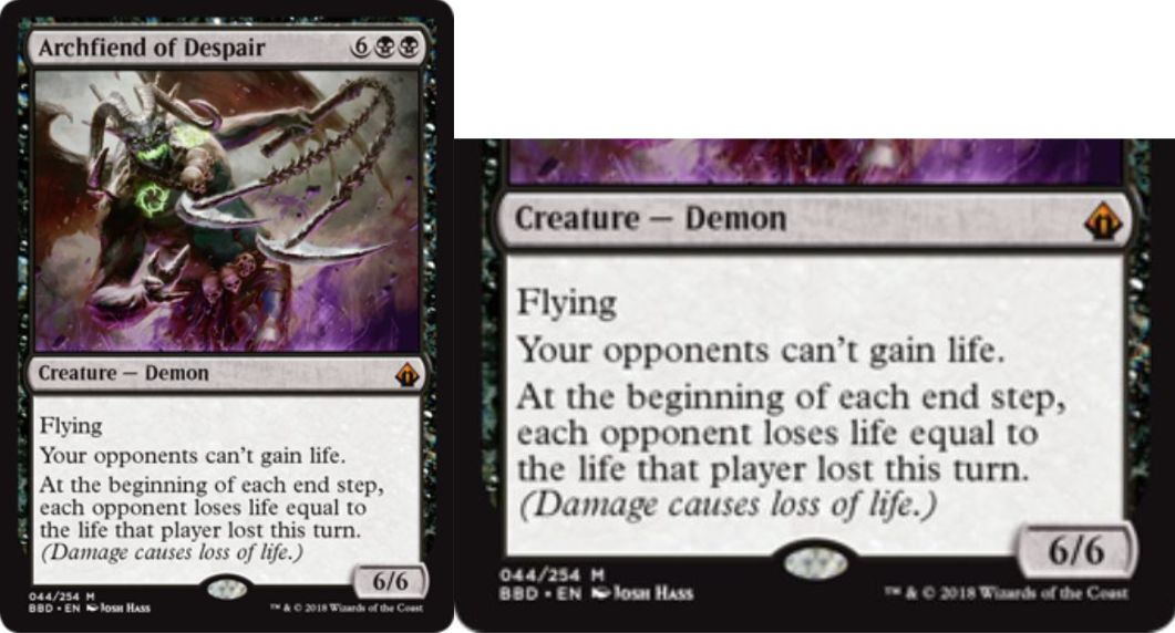 【バトルボンド】黒神話のデーモン「Archfiend of Despair」が公開!黒黒6で6/6「飛行」&対戦相手はライフを得られない&各終了ステップに、対戦相手はそのターンに失ったライフと同数のライフを追加で失う!