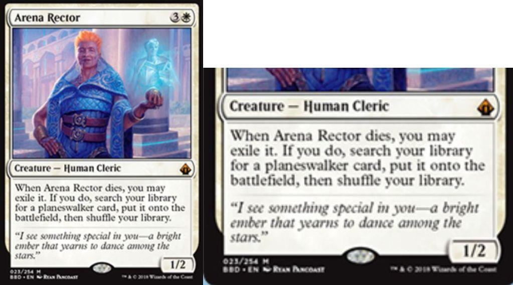 【バトルボンド】白神話生物「Arena Rector」が公開!白3で1/2&死亡時にこのカードを追放することで、ライブラリーからPWを直接戦場に出す人間クレリック!
