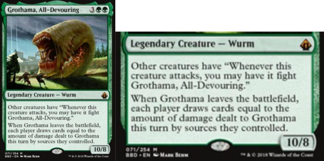 【バトルボンド】緑神話の伝説ワーム「Grothama, All-Devour」が公開!5マナ10/8&他のクリーチャーは攻撃時にこのカードと「格闘」可能&このカードが戦場を離れたとき、ターン中にこのカードに与えたダメージ分のドローができる!