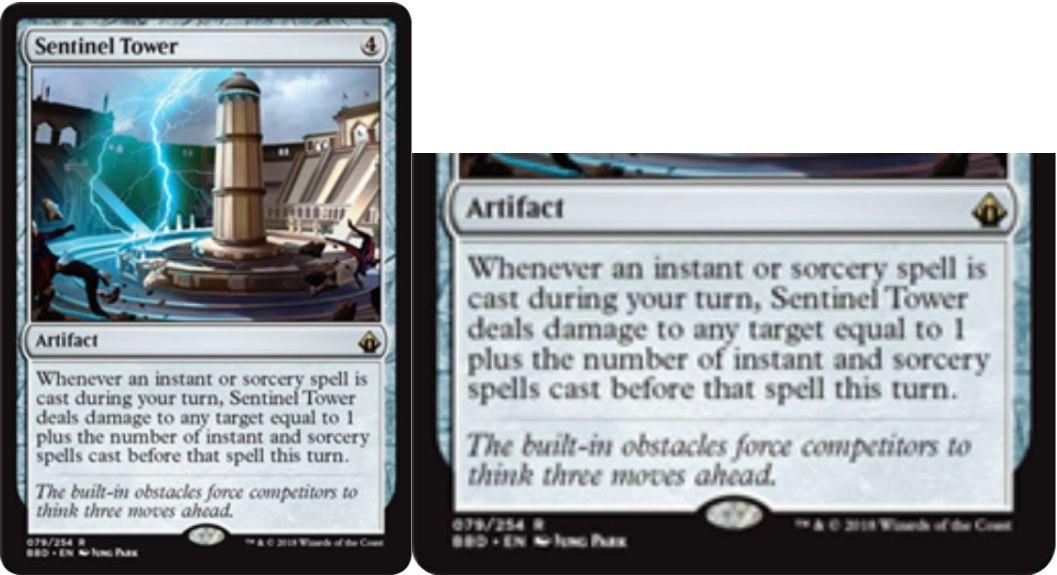 【バトルボンド】アーティファクト「Sentinel Tower」が公開!自ターンにインスタントかソーサリーを唱えると、そのターンに唱えたインスタント&ソーサリーの枚数だけ好きな対象にダメージを飛ばせる!