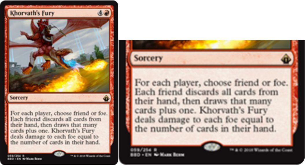 【バトルボンド】赤レアのソーサリー「Khorvath's Fury」が公開!プレイヤーごとに「味方」か「敵」かを選び、味方には手札交換(1枚増加)をもたらし、敵には手札枚数分のダメージを与える!