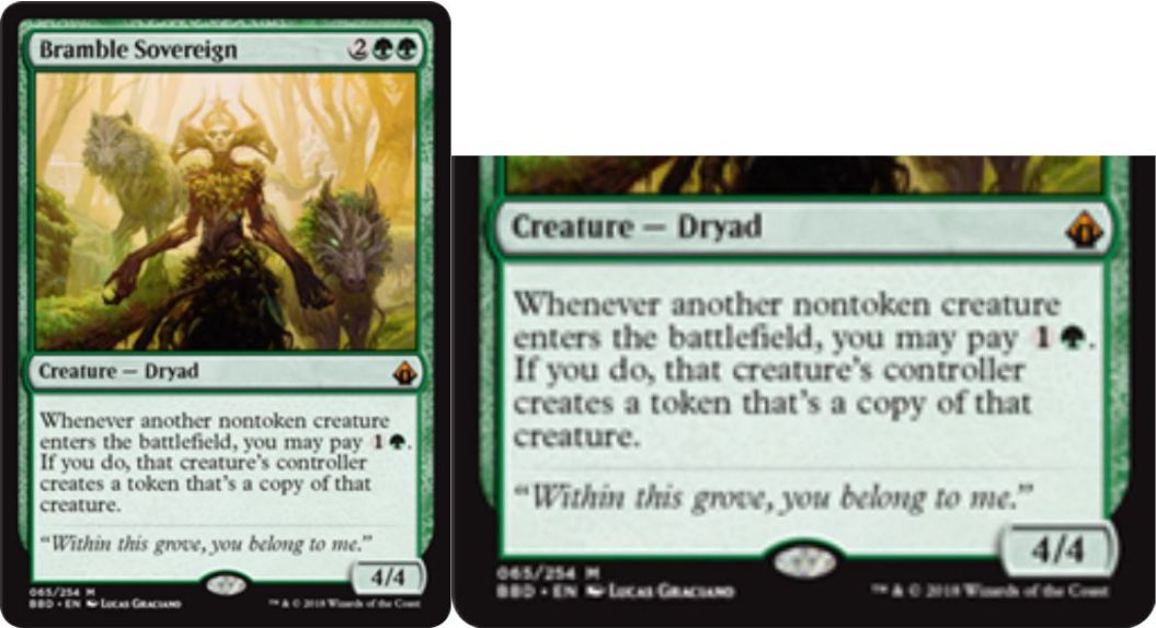 【バトルボンド】緑神話のドルイド「Bramble Sovereign」が公開!4マナ4/4&非トークンのクリーチャーが戦場に出るたび、緑1を支払えばそのカードのコントローラーの戦場にコピー・トークンを生成!