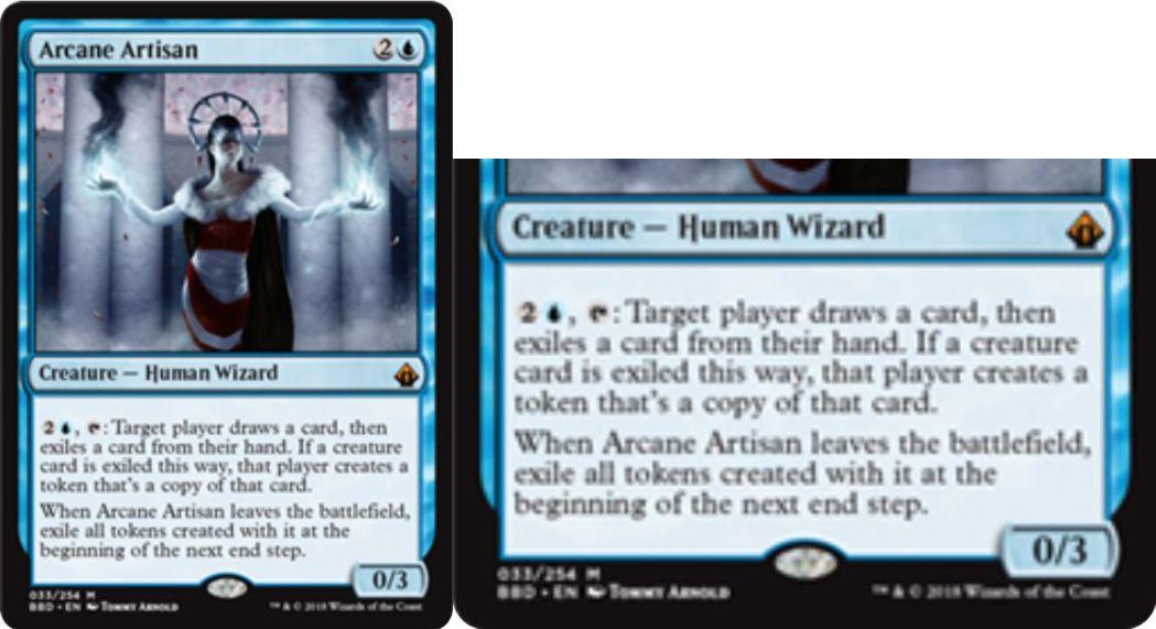 【バトルボンド】青神話ウィザード「Arcane Artisan」が公開!青2で0/3&青2を支払ってタップすると、対象のプレイヤー1人にドローをもたらしつつ手札のカード1枚の追放を要求!追放されたカードがクリーチャーならば、そのクリーチャーのコピー・トークンを生成!