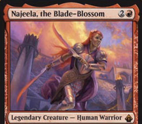 【バトルボンド】赤神話の伝説戦士「Najeela, the Blade-Blossom」が公開!3マナ3/2&攻撃時に攻撃状態の1/1白戦士トークンを生成&戦闘フェイズに5色5マナを支払うことで自軍全体にトランプル・絆魂・速攻を付与しつつアンタップし、追加の戦闘フェイズを行える!