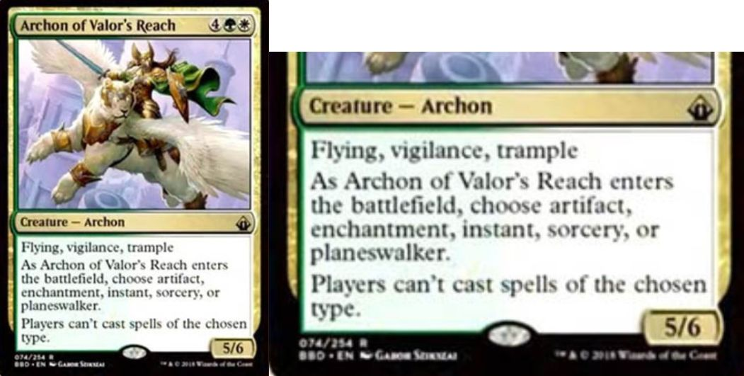 【バトルボンド】緑白の執政官「Arcon of Valor's Reach」が公開!緑白4で5/6飛行・警戒・トランプル&CIPでカードタイプを指定し、そのタイプの呪文を唱えられなくする!