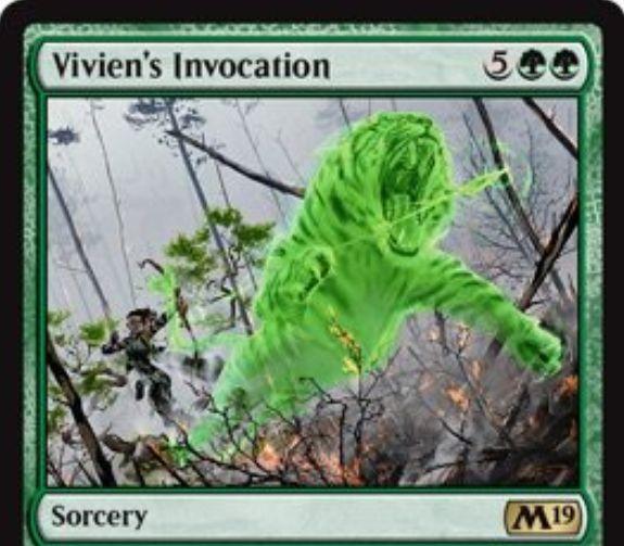 【基本セット2019】緑レアのソーサリー「Vivien's Invocation」が公開!緑緑5でライブラリートップ7枚からクリーチャーを好きなだけ出し、それらは自身のパワー点数だけ相手のクリーチャーにダメージを与える!