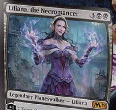 【基本セット2019】PWデッキのリリアナ「Liliana, the Necromancer」が公開!ライフロス&墓地回収&クリーチャー破壊とリアニメイトの能力を有する黒単プレインズウォーカー!