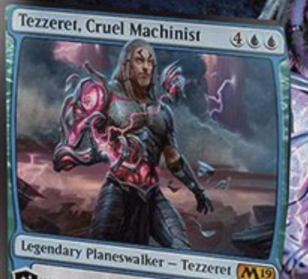 【基本セット2019】PWデッキのテゼレット「Tezzeret, Cruel Machinist」が公開!ドロー&アーティファクトのクリーチャー化&手札のカードを好きなだけアーティファクト・クリーチャー化の3種能力を持つ青単プレインズウォーカー!