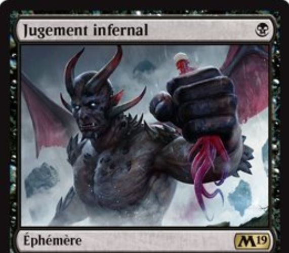 【基本セット2019】黒レアのインスタント「Infernal Judgment」が公開!黒マナ1点で「無色クリーチャー」を追放しつつ、そのカードのパワーだけライフを回復!