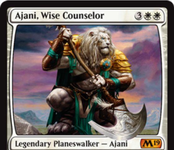 【基本セット2019】PWデッキの新アジャニ「Ajani, Wise Counselor」が公開!白白3で初期忠誠5を持ち、【+2】自軍生物の数だけライフ回復【-2】ターン中、自軍生物全体のP/Tを2ずつ強化【-9】クリーチャー1体にあなたのライフ分だけ+1/+1カウンター付与の能力を持つ白単プレインズウォーカー!