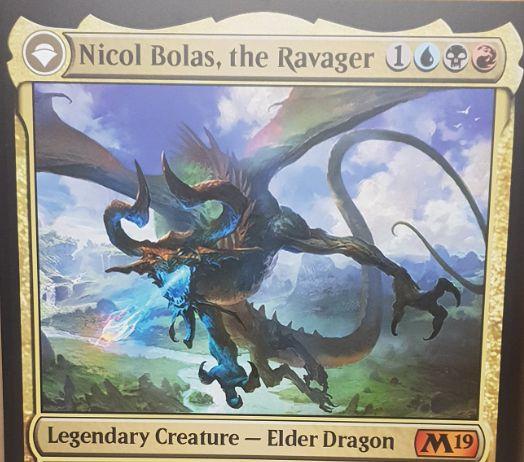 【基本セット2019】神話PWニコル・ボーラスの情報が公開!伝説のエルダー・ドラゴンとして戦場に出て、青黒赤4を支払うことでプレインズウォーカーに変身する!