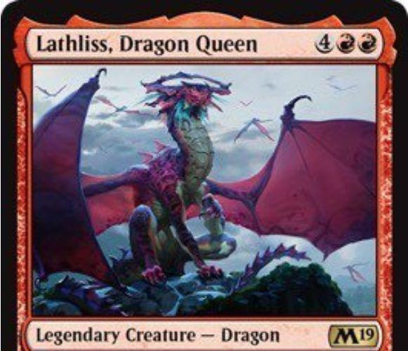【基本セット2019】赤レアの伝説ドラゴン「Lathliss, Dragon Queen」が公開!6マナ6/6飛行&非トークンのドラゴンが戦場に出るたび5/5飛行のドラゴントークンを生成&赤1を支払って自軍ドラゴンのパワーを1強化するドラゴンの女王!