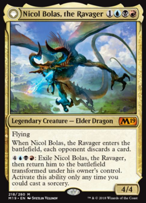 Nicol Bolas, the Ravager(基本セット2019)公式カード画像